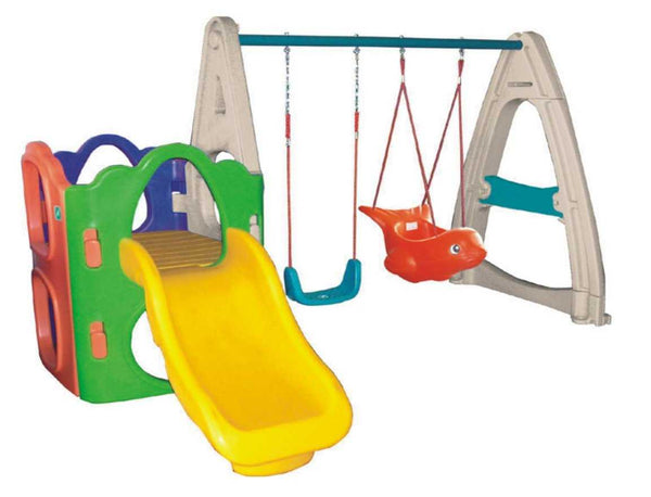 Outdoor Plastic Playset with Slide and Two Swings