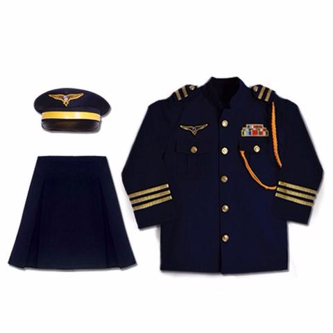Lady Pilot Uniform Girl Costume with Skirt