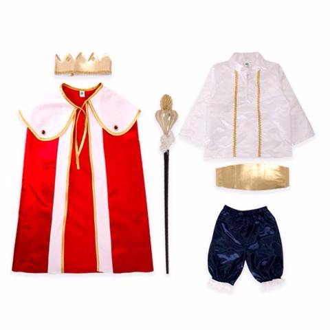 King Costume for Kids White and Red