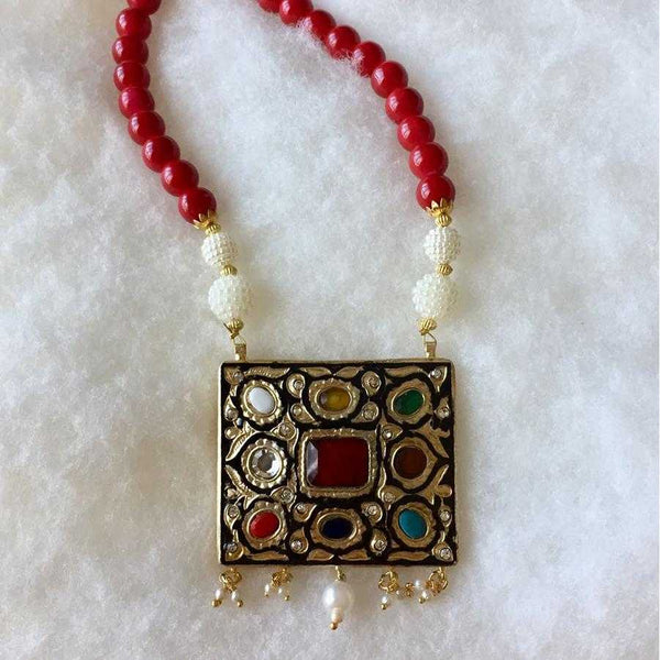 Colored Stones with Red Pearls Pendant Necklace - emarkiz-com.myshopify.com
