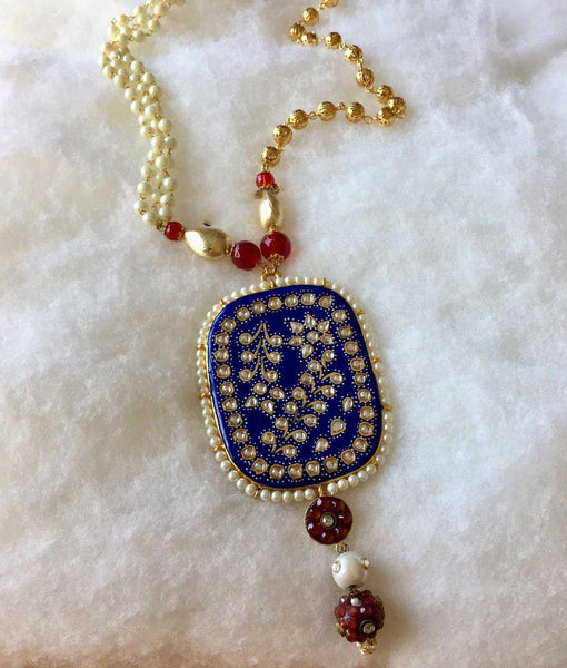 Blue Mina Work and Kundan Pendant Pearl Necklace - emarkiz-com.myshopify.com