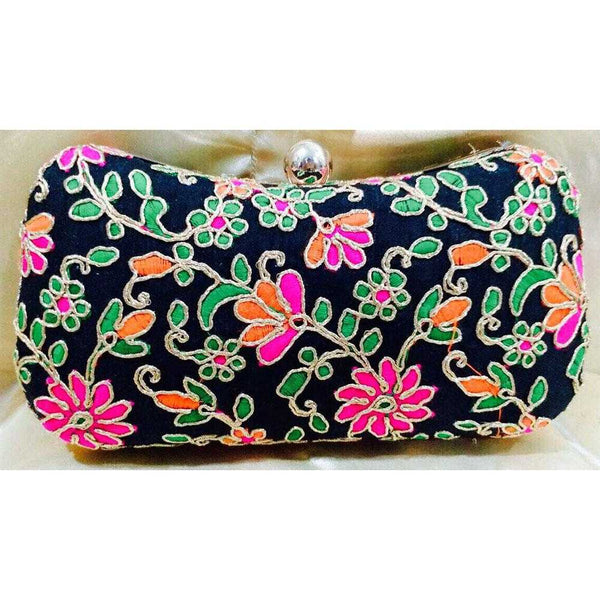 Black Box Clutch with Gold & Colorful Hand Embroidered Work - emarkiz-com.myshopify.com