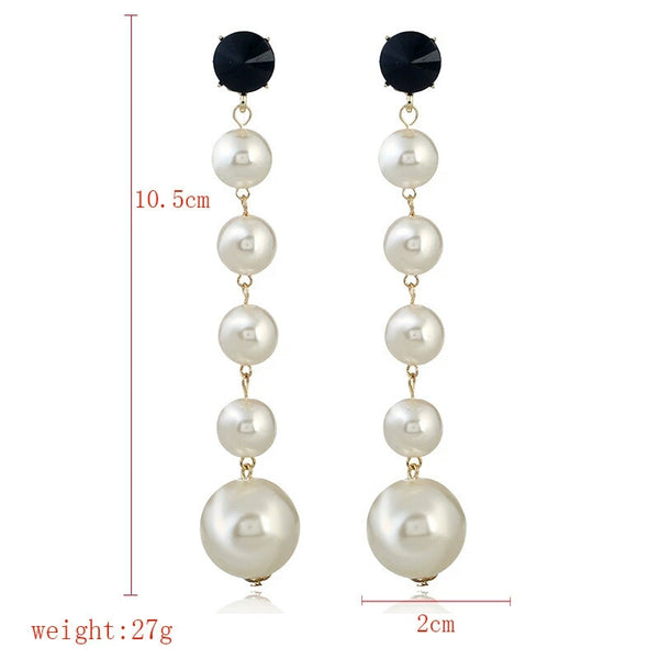 Long White Pearl Dangling Earrings - emarkiz-com.myshopify.com