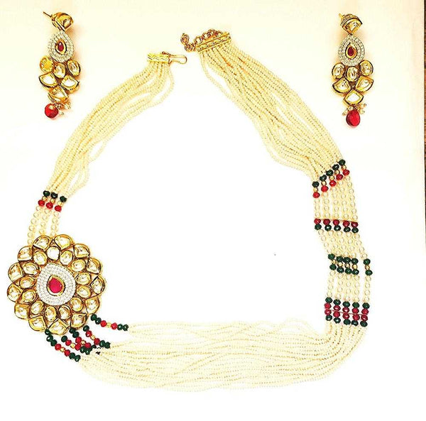 Cluster Pearl Necklace with Kundan Big Pendant & Earrings - emarkiz-com.myshopify.com