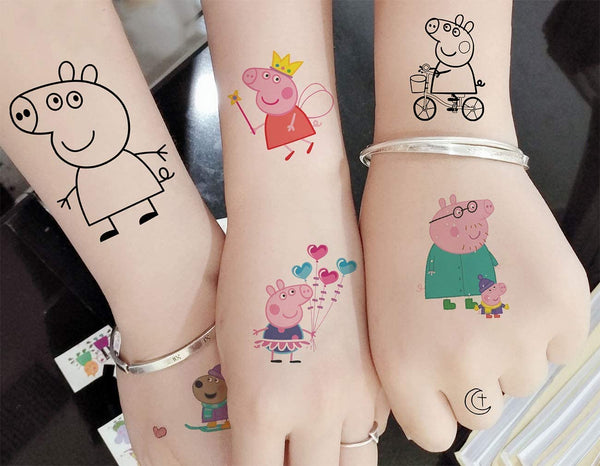 6Set Peppa Pig Theme Temporary Tattoos For Birthday Decoration Or Goodie Bag