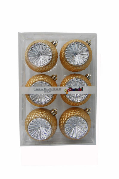 CHRISTMAS ORNAMENT 6 PCS-80MM GOLD
