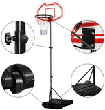 Basketball Height Adjustable Shooting Hoop Stand with Wheels - Backboard Kids Outdoor Sport