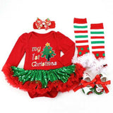 JADE 4 Piece Girl Set With Leg Warmers, Shoes and Elastic Headband - Red & Green - emarkiz-com.myshopify.com