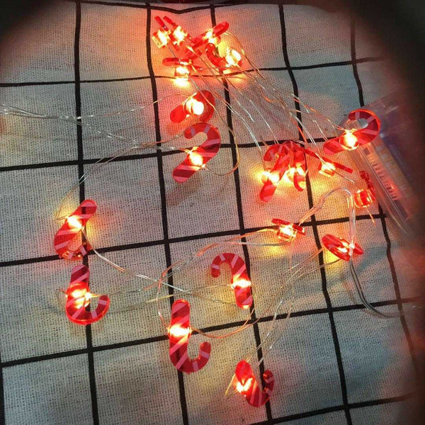 JADE Candy Cane Battery Operated String 20 LED Lights for Decoration - 2 meters - emarkiz-com.myshopify.com