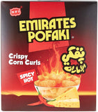 Emirates Pofaki Spicy Cheese Corn Curls 15g Packets Box and Carton