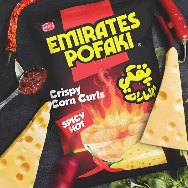 Emirates Pofaki Spicy Cheese Corn Curls 80g Packet