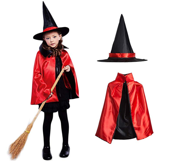 Witch Costume with Cape and Hat - Red