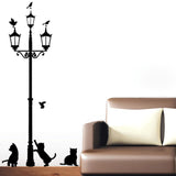 Lamp Post with Cats Wall Decal - emarkiz-com.myshopify.com