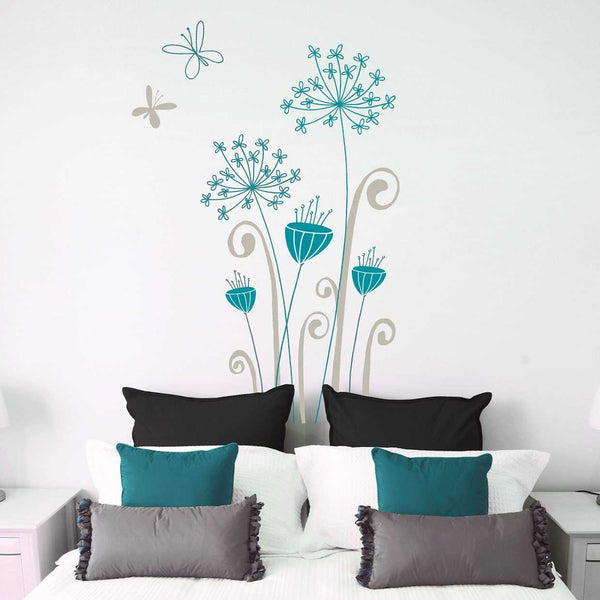 Blue Flowers Wall Decal - emarkiz-com.myshopify.com