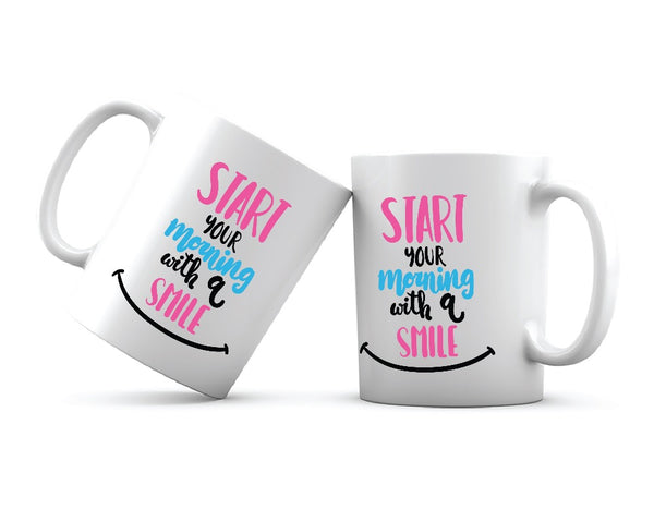 Start Your Morning With A Smile Printed Coffee Mug White/Pink/Black - 11 Oz