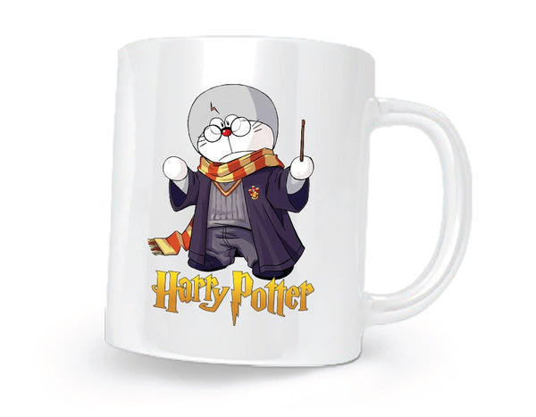 Harry Potter Doraemon Printed Coffee Mug White/Purple/Grey - 11 oz