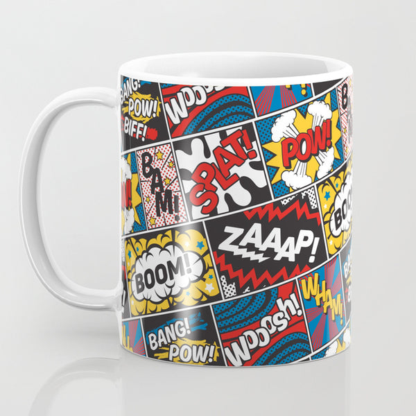 Pop Art Design Coffee Mug White/Yellow/Red - 11 Oz