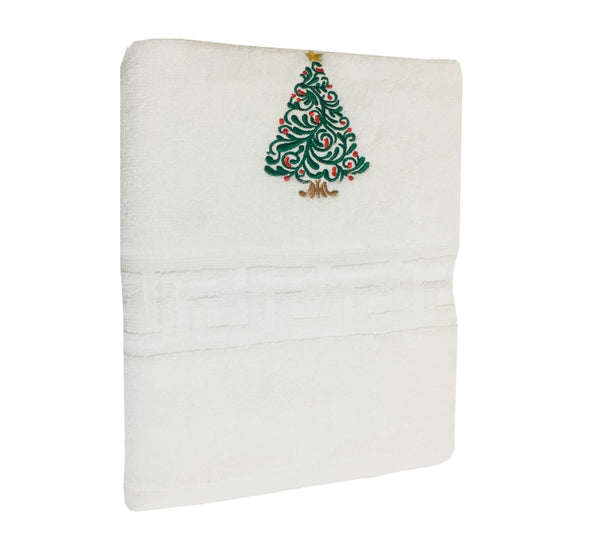 Magnolia Premium Embroidered Bath Towel - Christmas Tree - emarkiz-com.myshopify.com