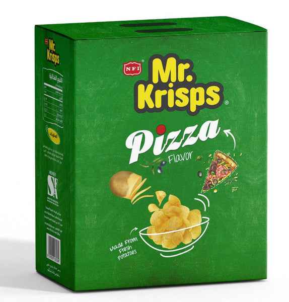 Mr Krisps Pizza Flavour Potato Chips 15g Packets - Box and Carton