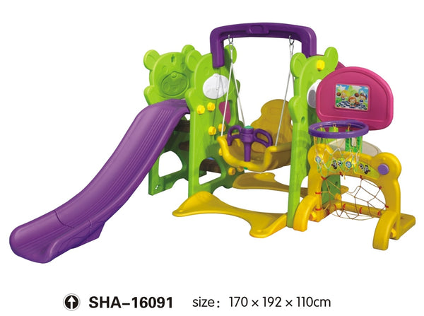Swing and Slide Set with Basketball Net Green Purple Yellow Size: 170x192x110cm