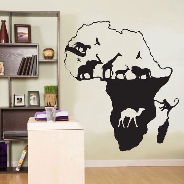 African Map Wall Sticker Black -  100x113 cm