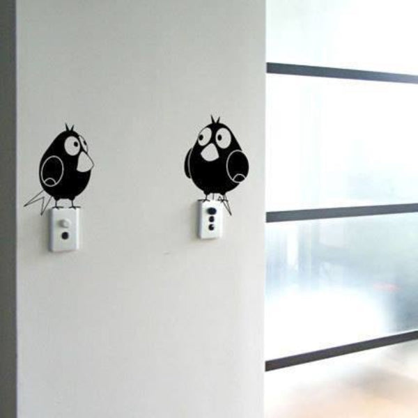 Waterproof Two Fatty Birds Decorative Wall Sticker Black - 10x10 cm