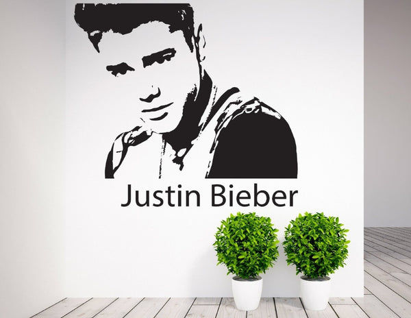 Justin Bieber Wall Sticker Black - 80x80 cm