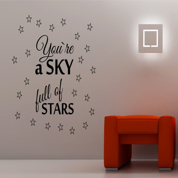 Quotes Wall Decal Sky Full of Stars Black - 50x50 cm