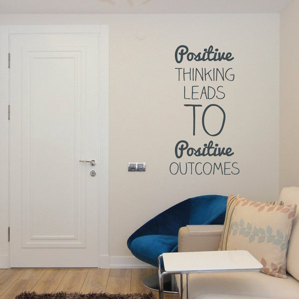 Quoted Wall Decal Positive Thinking Black - 90 x 50 cm