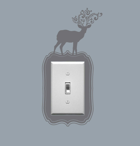 Deer Switch Wall Sticker Grey 10x10 centimeter  SYW-118