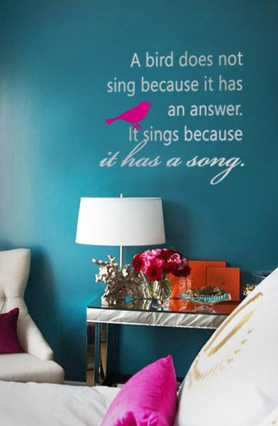 Quote Wall Decal A Bird Sings White - 60x60 cm