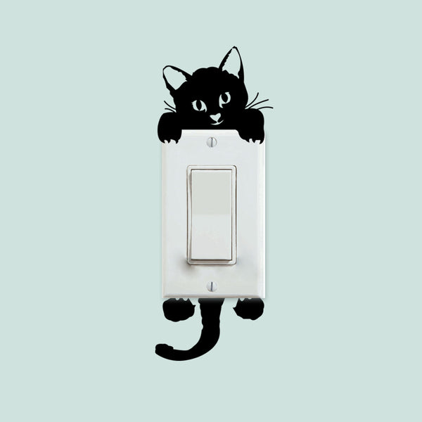 Half Cat Switch Wall Decal Sticker - emarkiz-com.myshopify.com