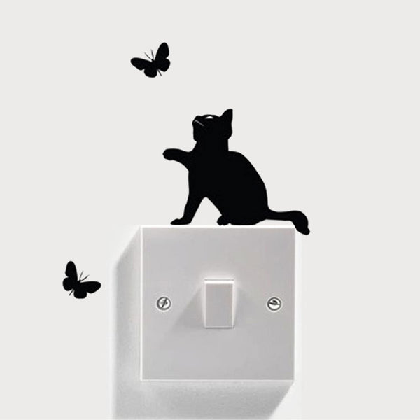 Cat and Butterfly Switch Wall Decal Sticker - emarkiz-com.myshopify.com