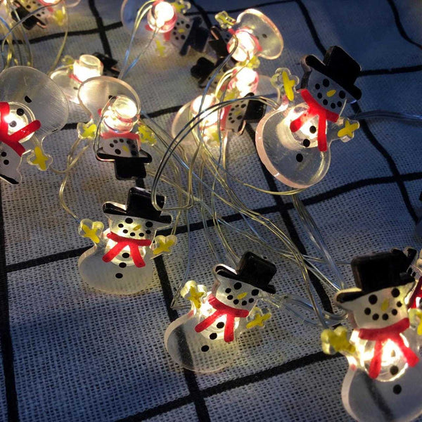 JADE SNOWMAN Battery Operated String 20 LED Lights for Decoration - 2 meters - emarkiz-com.myshopify.com