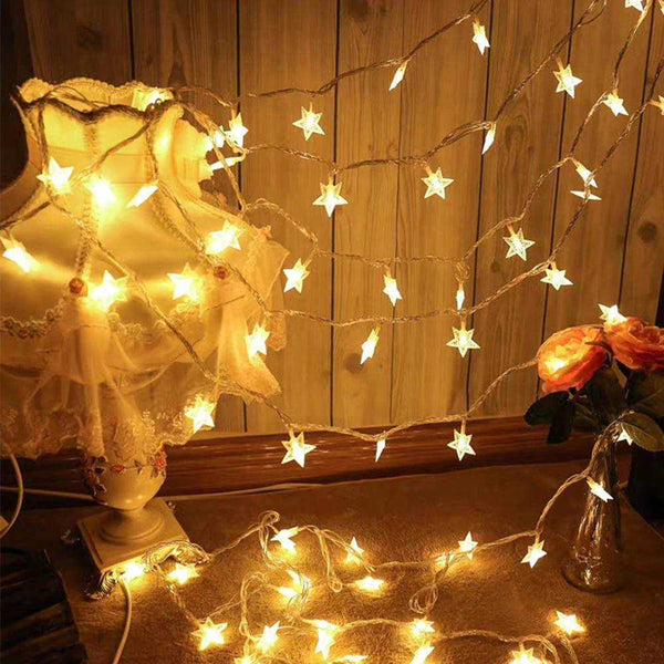 JADE STAR Shaped Battery Operated String 40 LED Lights for Decoration - 6 meters - emarkiz-com.myshopify.com