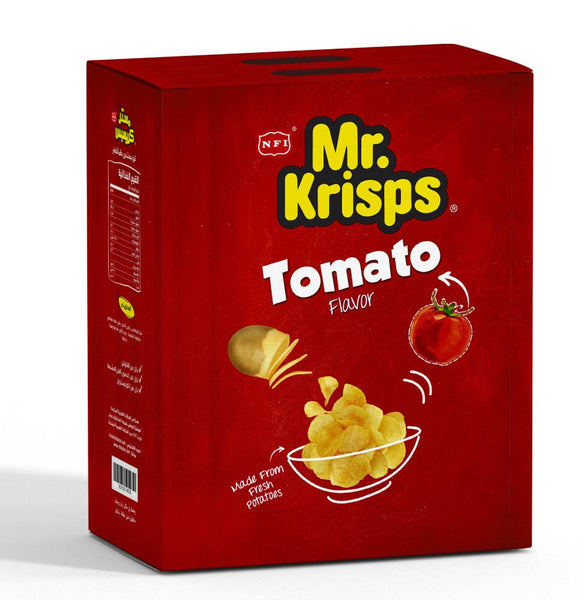 Mr Krisps Tomato Flavour Potato Chips 15g packets - Box and Carton