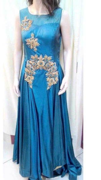 Turquoise Blue Silk Gown with Gold Work - emarkiz-com.myshopify.com