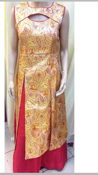 Yellow Beige Silk Printed Kurti with Red Palazzo Pants - emarkiz-com.myshopify.com
