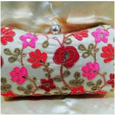 Beige Box Clutch with Bright Colored Embroidered Work - emarkiz-com.myshopify.com