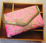 Fuschia Pink Soft Clutch with Antique Gold Leaf Embroidery