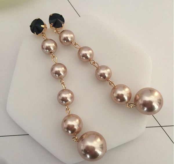 Long Golden Pearls Dangling Earrings - emarkiz-com.myshopify.com