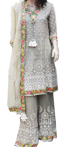Designer Georgette Embroidered Salwar Khameez with Palazzo Pants Grey and Mixed Floral Colors
