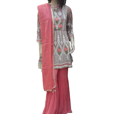 Designer Embroidered Salwar Khameez Suit with Palazzo Pants Peach and Green