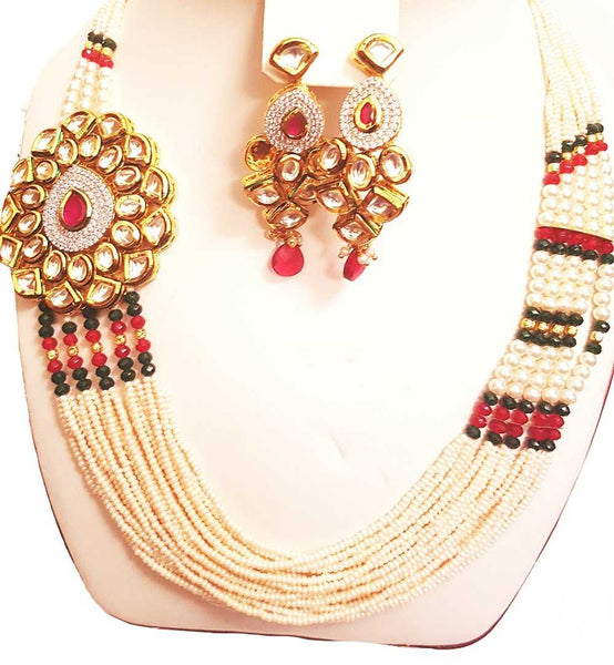 Cluster Pearl Necklace with Kundan Big Pendant & Earrings