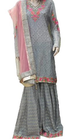 Designer Georgette Embroidered Salwar Khameez with Palazzo Pants Grey and Pink