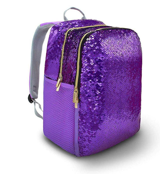 Blackstone Reversible Sequins Glitter Purple Medium School Backpack - emarkiz-com.myshopify.com