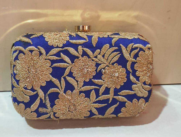 Royal Blue Clutch with Gold Thread Embroidery - emarkiz-com.myshopify.com