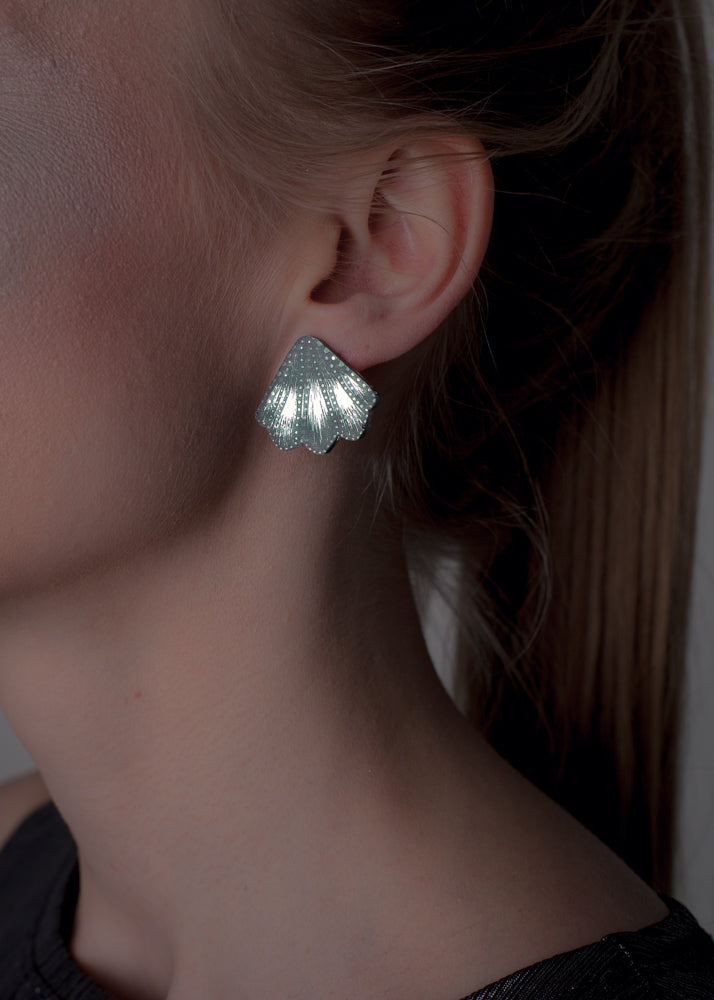 Mermaid Paddles Stud Earrings, Silver Mirror