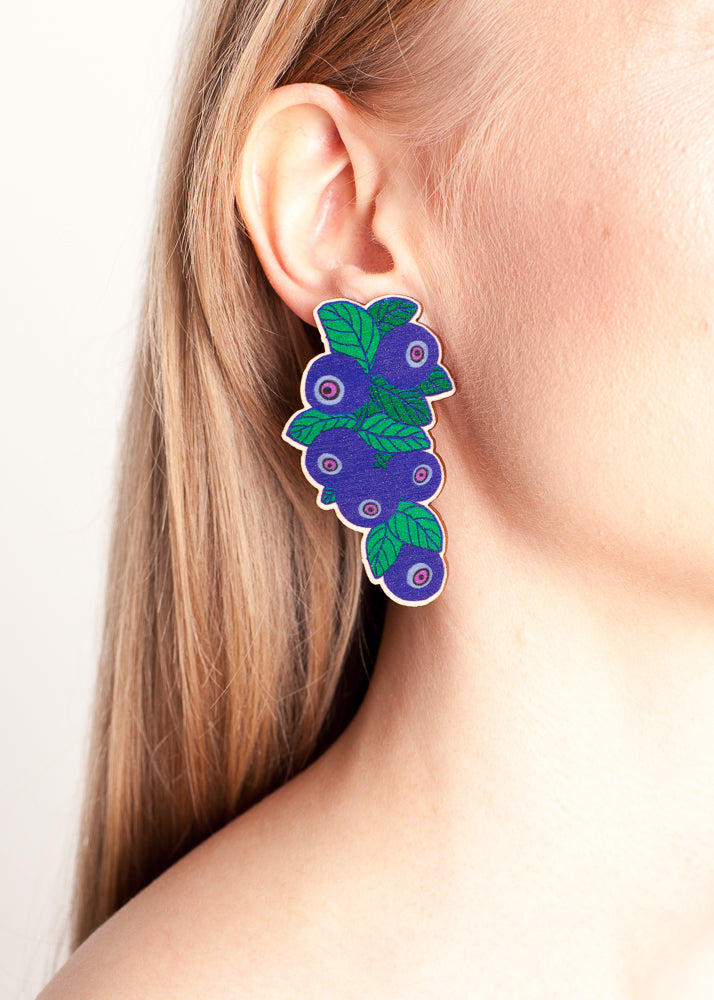 Blueberry Earrings, Wood