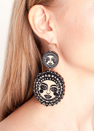 Sunny Earrings, Double Dangle Hook, Black/Wood